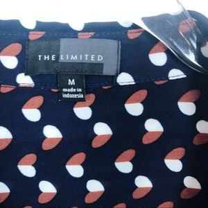 The Limited Tops - THE LIMITED NAVY BLUE HEART PATTERN BLOUSE